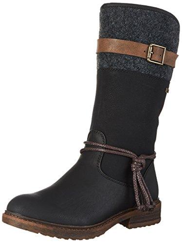 Rieker Damen Klassische Stiefel 94778,Frauen Boots,Reißverschluss,Blockabsatz 3.8cm,schwarz/schwarz/braun/anthrazit, EU 41