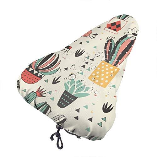 LalaQ - Funda para asiento de bicicleta con diseño de calavera de azúcar colorida con diamante de flor, unisex, extra suave, duradera y resistente al agua, Cactus en maceta de dibujos animados, talla única