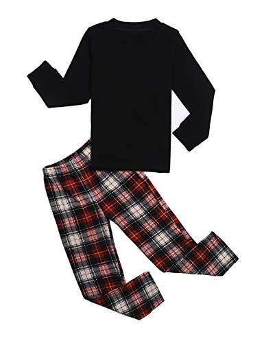 trudge Schlafanzug Jungen Mädchen Unisex Pyjama Set Kinder Langarm Einfarbig Baumwolle Top + Kariert Hose, Schwarz, 120/4-5 Jahre