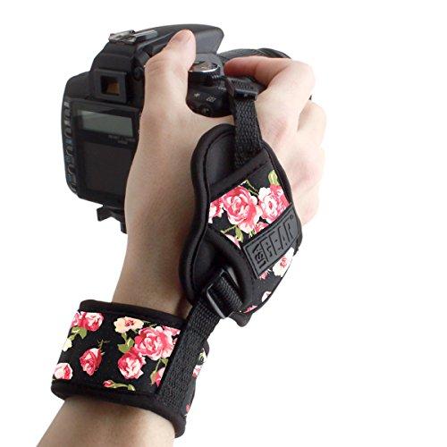USA Gear Dragonne Grip Poignet Rapide Appareil Photo Reflex et Bridge - Sangle Appareil Photo avec Bracelet en Néoprène Ajustable- Compatible avec Nikon, Canon, Pentax, Panasonic Lumix et Plus-Fleural