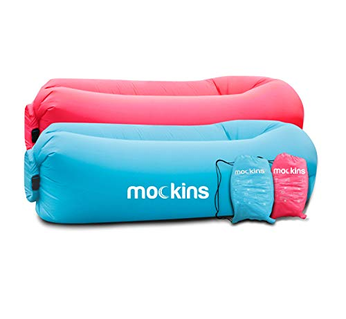 mockins 2 Pack Inflatable Lounger Air Sofa Perfect for Beach Chair Camping Chairs or Portable Hammock and Includes Travel Bag Pouch and Pockets | Easy to Use Camping Accessories -Blue and Pink Color