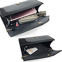 Glossy Envelope Evening Clutch Faux Patent Leather Women Chain Shoulder Bag Solid Color Purse