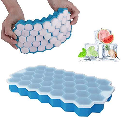 Vassoio per cubetti di ghiaccio con coperchi, 37 cubetti di ghiaccio in gel di silice, flessibile e senza BPA, per cubetti di ghiaccio e bevande refrigerate, whisky e cocktail