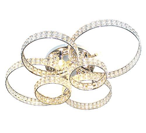 XXL LED cristallo vetro plafoniera lampadario luce soffitto salotto anelli design 88x66cm 6xG9 Lewima HALKALA