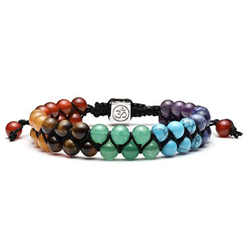 Jovivi Bead Chakra Bracelet - 6mm Double Layer Beaded 7 Chakra Healing Crystal Stones Bracelets Anxiety Bracelet for Men Women Couple Friendship Jewelry