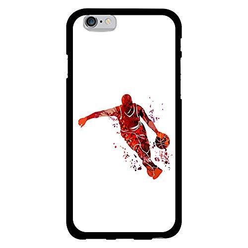 BJJ SHOP Funda Negra para [ iPhone 6 / iPhone 6s ], Carcasa de Silicona Flexible TPU, diseño : Jugador Abstracto de Baloncesto Naranja