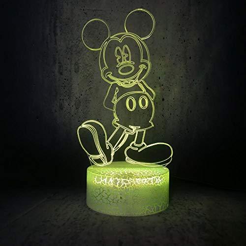 Lámpara De Ilusión 3D Mickey Mouse De Pie Y Sonríe Luz De Noche De Dibujos Animados 7 Colores Luz Táctil Decoración De Dormitorio Infantil Lámpara De Humor De Regalo De Cumpleaños Para Niños