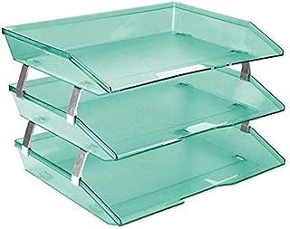 Acrimet Facility 3 Tier Letter Tray Side Load Plastic Desktop File Organizer (Clear Green Color)