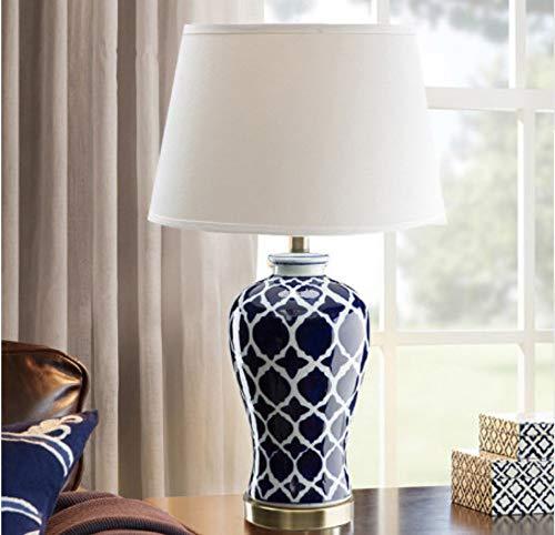 xiadsk Chinesische Blaue keramische tischlampe Restaurant Wohnzimmer Schlafzimmer Dekoration tischlampe vase weiße Blaue Lampe ZL183