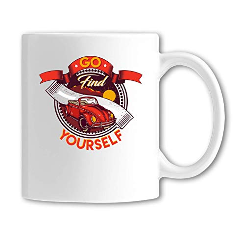 Desconocido Go Find Yourself Classic Road Trip Art Taza de Ceramica