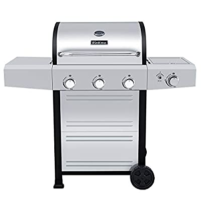 RINKMO Gas Grill, 2020 Upgrade 670 sq inch 3 Burner 36,000 BTU-per-Hour Input Stainless Steel Liquid Propane Grill, Movable BBQ Grills with Side Burner, Cart Style