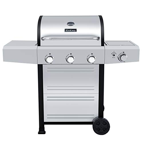RINKMO Gas Grill 2020 Upgrade 670 sq inch 3 Burner 36000 BTUperHour Input Stainless Steel Liquid Propane Grill Movable BBQ Grills with Side Burner Cart Style