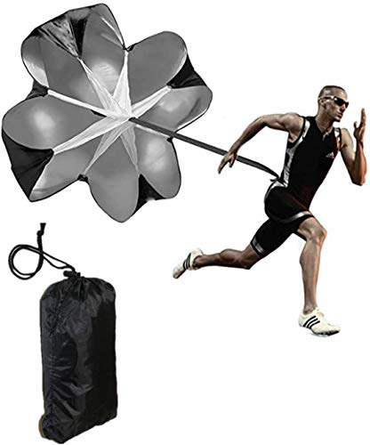 Running Speed Chute Resistance Parachute 57 inch Training Parachute Umbrella Sprint Power Soccer Trainer Fitness Agility Ladder Speed Training Parachute for Runner,Football, Soccer - Adjustable Strap