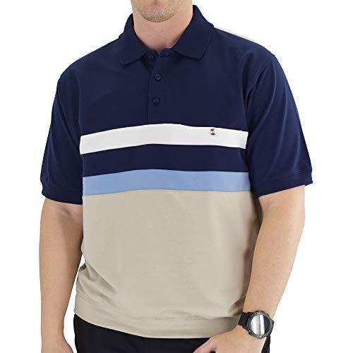 Classics by Palmland Short Sleeve Bande Bottom Polo Shirt - 6190-326 (XXL, Navy)
