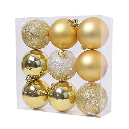 MLXG - Lote de 9 bolas colgantes para árbol de Navidad, bolas colgantes para la decoración de fiesta del nuevo uno en casa – 2,36 pulgadas