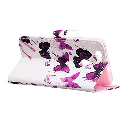 Kompatibel mit Huawei Nova Hülle,Huawei Nova Schutzhülle,Relief Prägung Kunst Malerei PU Lederhülle Handyhülle Tasche Handy Hülle Flip Wallet Ständer Schutzhülle für Huawei Nova,Lila Schmetterling - 5