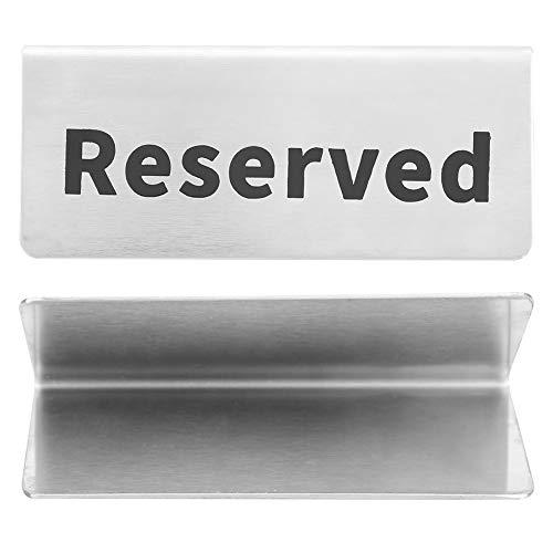 Letrero de mesa de acero inoxidable, letrero de mesa tipo V reutilizable, plateado fácil de limpiar para eventos de catering en casa(reserved)