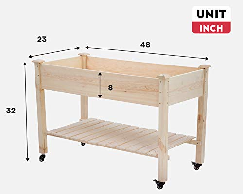 Raised garden bed with legs 48x23x32 inch wheels elevated garden bed wood planter box kit for vegetable flower outdoor… 5 ✔【high quality materials】:the raised garden bed is made of no paint, garden bed use non-toxic fir wood, which is known for its strength and dimensional stability as well as its natural resistance to rot and pests. The 0. 6'' thick solid wood boards are only sanded to prevent any undesired injury caused by wood splinters. ✔【nature gardening buddy】:the garden bed use natural wood color makes your garden and greenhouse more original and healthy, and its natural wood grain on the boards bring a rustic and natural style to your garden. ✔【ergonomic design】:the garden bed built with a set of locking wheels to move the planter from place to place. The wood garden bed user-friendly design,the height about garden raise bed is 32. 3 inch, the people who have a backache or knee pain can easily manage plants,you don't need to bend down or keep down.