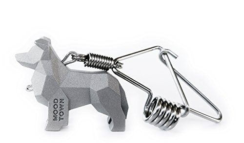 MOODTOWN Handcrafted Stainless Steel Dog Keychain Gift for Men and Women- Border Collie Puppy Car Keyring Car Rear View Mirror Hanging Accessory