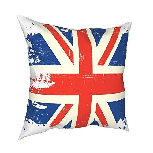 Throw Pillow Funda Fundas de Almohada 45x45CM Una Bandera Inglesa con una decoración de Textura Grunge para la decoración del hogar Oficina Sofá Holiday Bar Café Boda Coche