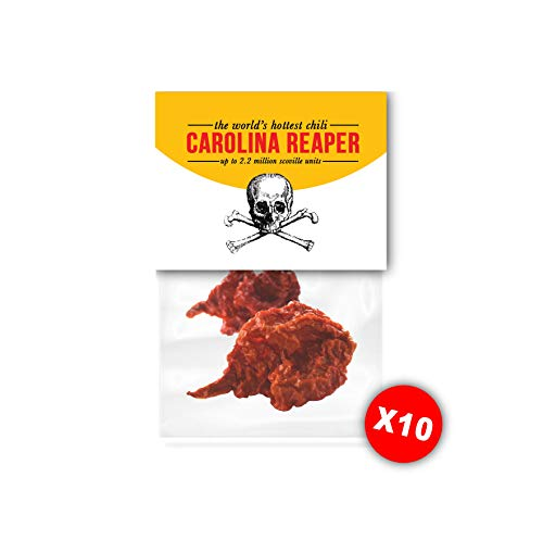 Gedroogde Carolina Reaper chili pepers. De pittigste chilipeper ter wereld, puur (2 g x 10)