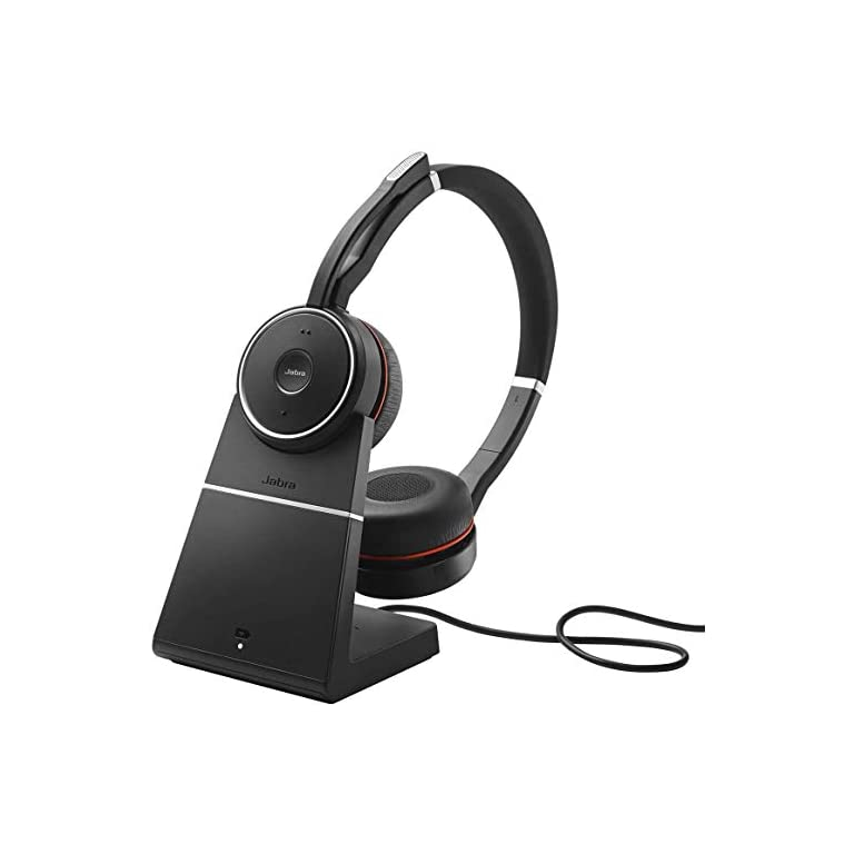 Casque Jabra EVOLVE 75 MS - Sans fil - Bluetooth - 40 mm - Stéréo - Sur tête - Design Circumaural - Portée 30,5 m - Fréquence 20 Hz/20 kHz - Anti-bruit