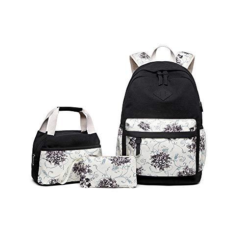 Tela Zaino Scuola con Porta USB, Zaino Casual Kit 3 in 1 Tela Zaini Ragazza Donna + Borsa per il pranzo + Astuccio