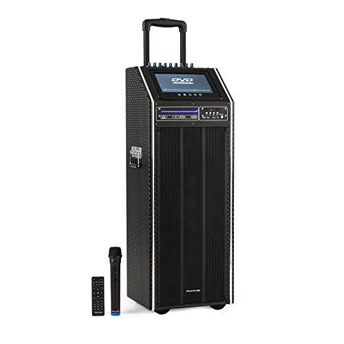 auna Pro DisGo Box - Equipo PA móvil, Reproductor DVD, Potencia de 300 W, Pantalla TFT de 9