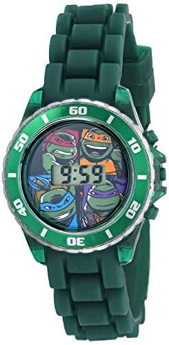 Ninja Turtles Kids Digital Watch with Matallic Green Bezel, Flashing LED Lights, Green Strap - Kids Digital Watch with Teenage Mutant Ninja Turtles on the Dial, Safe for Children - Model: TMN4008
