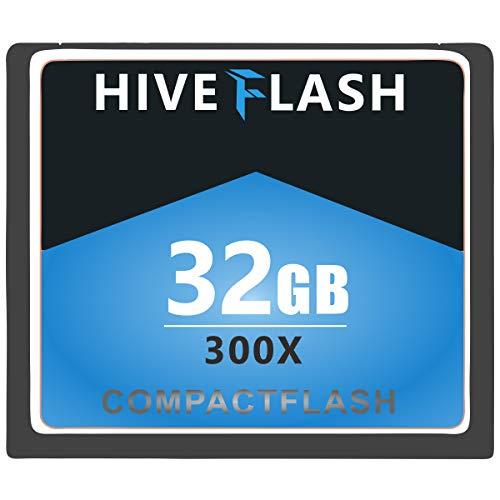 HIVEFLASH Tarjeta de memoria flash compacta CF tipo I diseñada para cámara de vídeo tradicional, 32 GB.