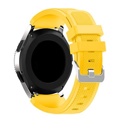 Syxinn Compatible con Correa de Reloj Gear S3 Frontier/Classic/Galaxy Watch 46mm Reemplazo de Banda de Silicona Suave Deportiva Pulsera de Repuesto para Gear S3/Moto 360 2nd Gen 46mm (Amarillo)
