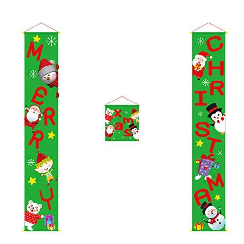 Amosfun Vrolijke Kerstmis Porch Banners Groene Kerstmis Porch Achtergrond Xmas Hangende Banners Voordeur Gordijn Decoratie voor Home Deur Kerstmis Hangende Teken