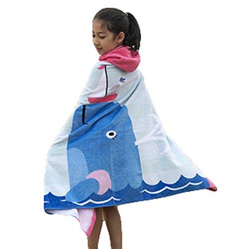 Juleya Enfants Adultes Peignoir 100% Coton Serviette de Bain à Capuchon Poncho Doux Confortable Absorption de l'eau