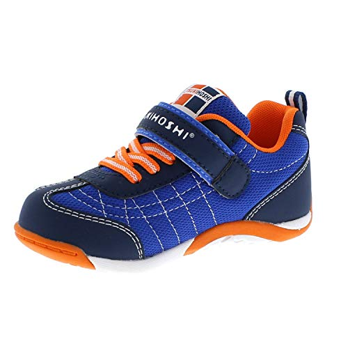 TSUKIHOSHI 1521 Kaz Strap-Closure Machine-Washable Child Sneaker Shoe with Wide Toe Box and Slip-Resistant, Non-Marking Outsole - Navy/Tangerine, 10.5 Little Kid (4-8 Years)