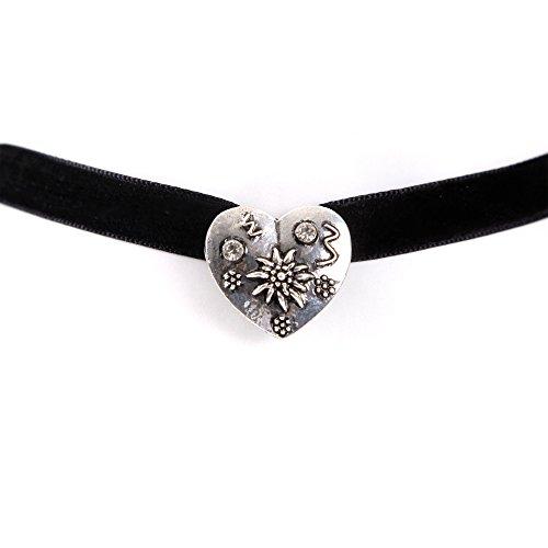 ALMBOCK Tracht Choker schwarz - Trachten Halsketten Damen - Choker Kette für Dirndl