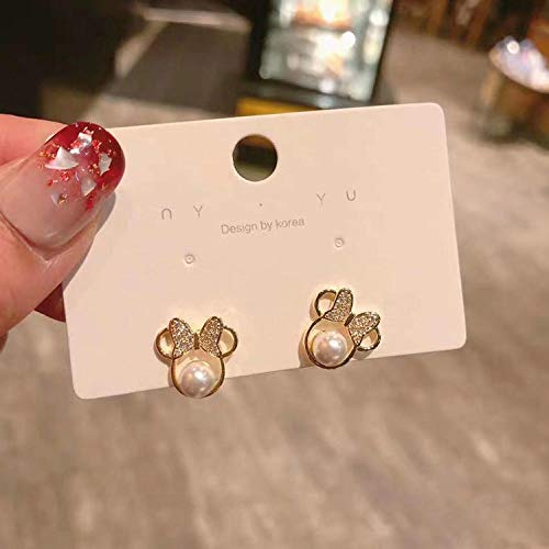 XAOQW Lindos Pendientes Collar con ratón Cristal Lindo Arco de Perla Chica Charm-as Imagen