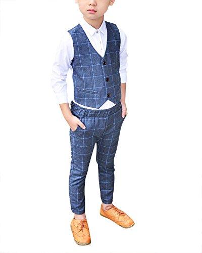 DianShao Jungen 3 Stück Formal Anzug Kinder Gentleman Weste + Blazer + Hosen Grau 110