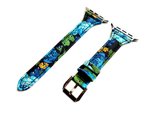 Blue Roses Floral Slim Band Compatible with Apple Watch Series 5 4 3 2 1 Case 40mm 44mm 38mm 42mm Elegant Soft Leather Strap Bracelet (40mm Watch Case Size, 4. Rose Gold Color Buckle Adapters)