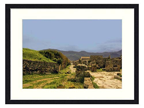 OiArt Wall Art Canvas Prints Wood Framed Paintings Artworks Pictures(20x14 inch) - Pompeii Italy Architecture Landmark City Ancient