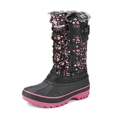 DREAM PAIRS Girls Faux Fur Lined Insulated Waterproof Winter Snow Boots Black Pink Kriver-1 Size 6 M US Big Kid