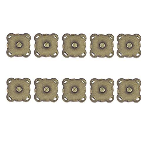 HEALLILY cierre de botón magnético broches de metal botón de aplausos para bolsos de bolsos de bricolaje ropa scrapbooking haciendo 15mm 10pcs (bronce)
