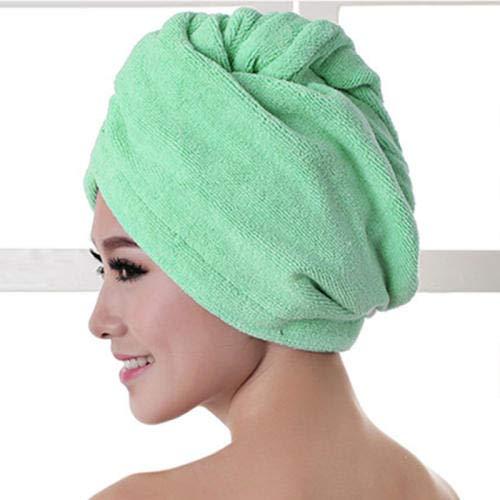 Chapeau de cheveux secs, casquettes de cheveux secs absorbants XAGCC pour femmes, turban torsadé, serviette à séchage rapide avec boucle et fermeture à bouton pour le bain, spa de bain (vert)