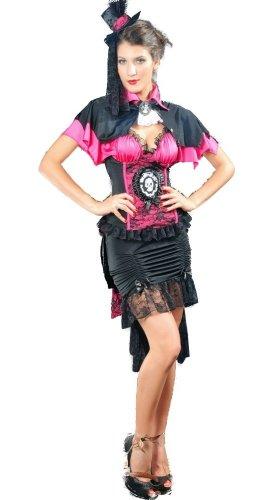 Preisvergleich Produktbild Gothic Victorian Burlesque Lolita Kleid Vampir Kostüm mit Skull Appl. inkl. Hut