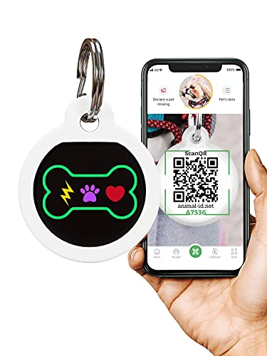 QR Dog Tags for dogs and Cats - Small Dog Tag & Cat Tag - GPS Pet Id Tag - Scannable QR Pet Tags for Location - Cat Id Tag & Dog Id Tag with Online Profile - Funny Dog Tags from Animal ID Tags
