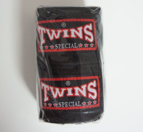 TWINS Bandagen, schwarz, unelastisch, 5 m, handwraps, Wickelbandagen, Muay Thai