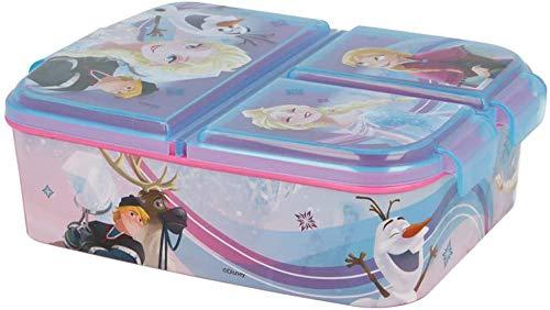 Brotdose Eiskönigin Lunchbox mit 3 Fächern, Bento Brotbox für Kinder - ideal für Schule, Kindergarten oder Freizeit