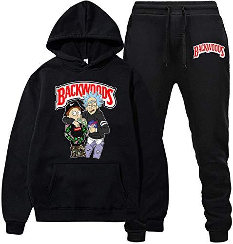 DISINIBITA Backwoods Hoodies and Pants Fashion Causal Sport Suit for Men Women (B-Black, L)