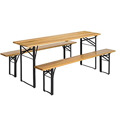 Best Choice Products 3-Piece Portable Folding Picnic Table Set w/Wooden Tabletop - Brown