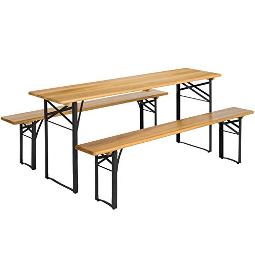 Best Choice Products 3-Piece Portable Folding Iron Picnic Table Set w/ Wooden Tabletop, Brown