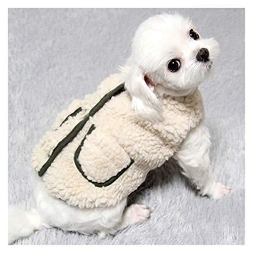 LIUCHANG Ropa para mascotas de invierno de Navidad, chaleco de algodón, bufanda adjunta para cachorros, pequeños, medianos, gatos, vestido de otoño (color: blanco, talla: S) liuchang20